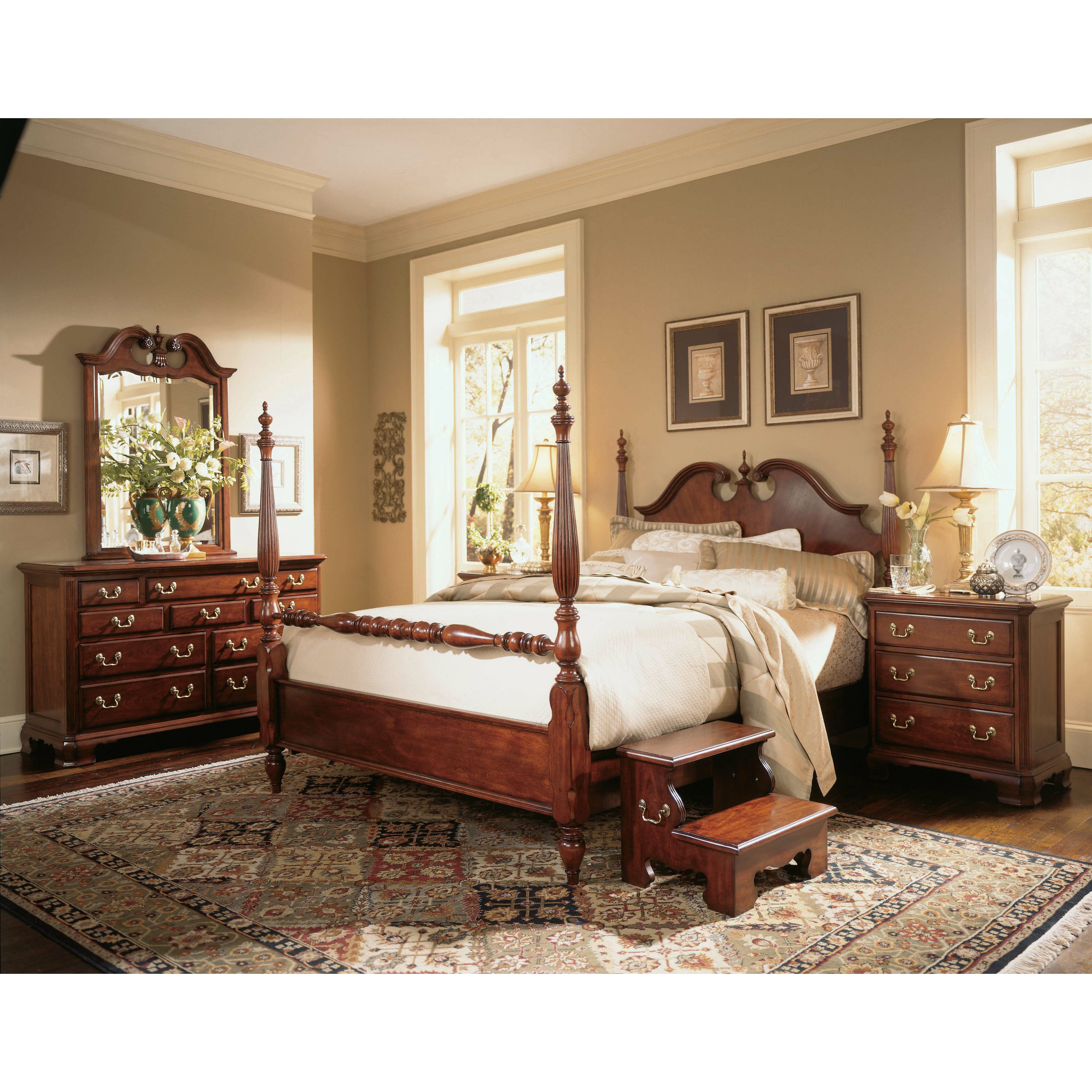 American drew cherry grove four poster customizable for Bed frame and dresser set