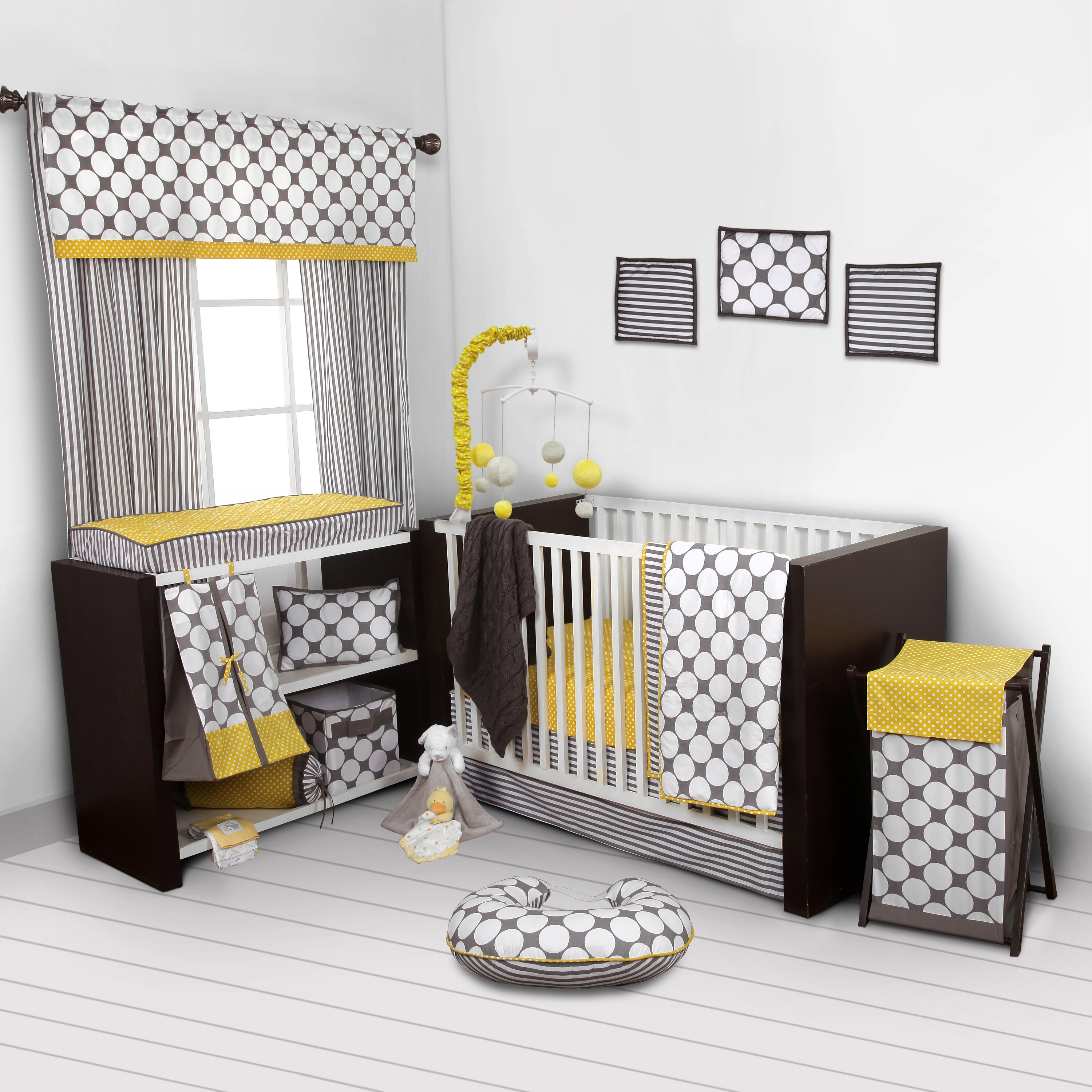 Gray and yellow window curtains - Gray And Yellow Window Curtains Bacati Dots Pin Stripes Window Curtain Valance