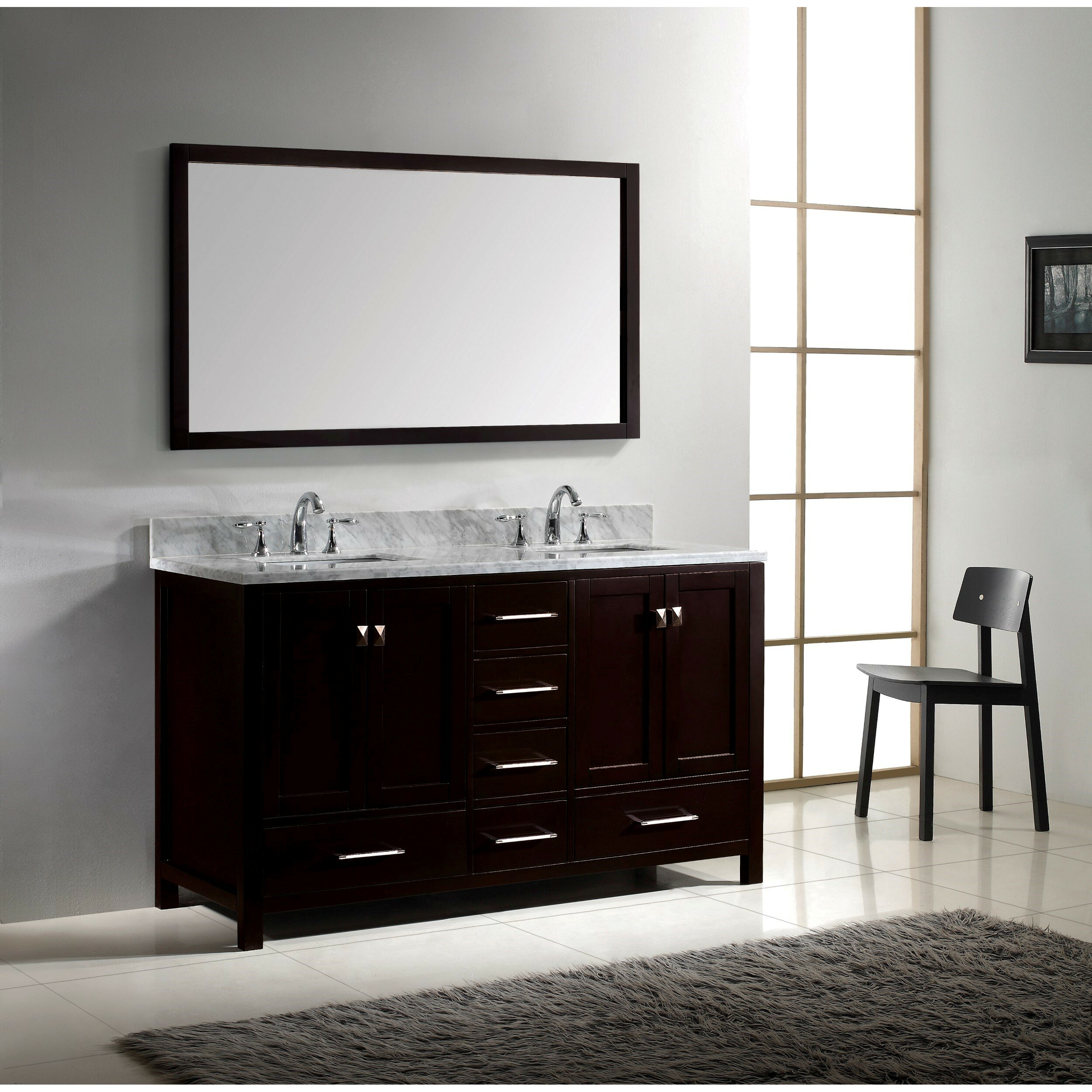 Double bathroom vanity - Latitude Run Stoneham 60 Quot Double Bathroom Vanity Set With Carrara White Top And Mirror