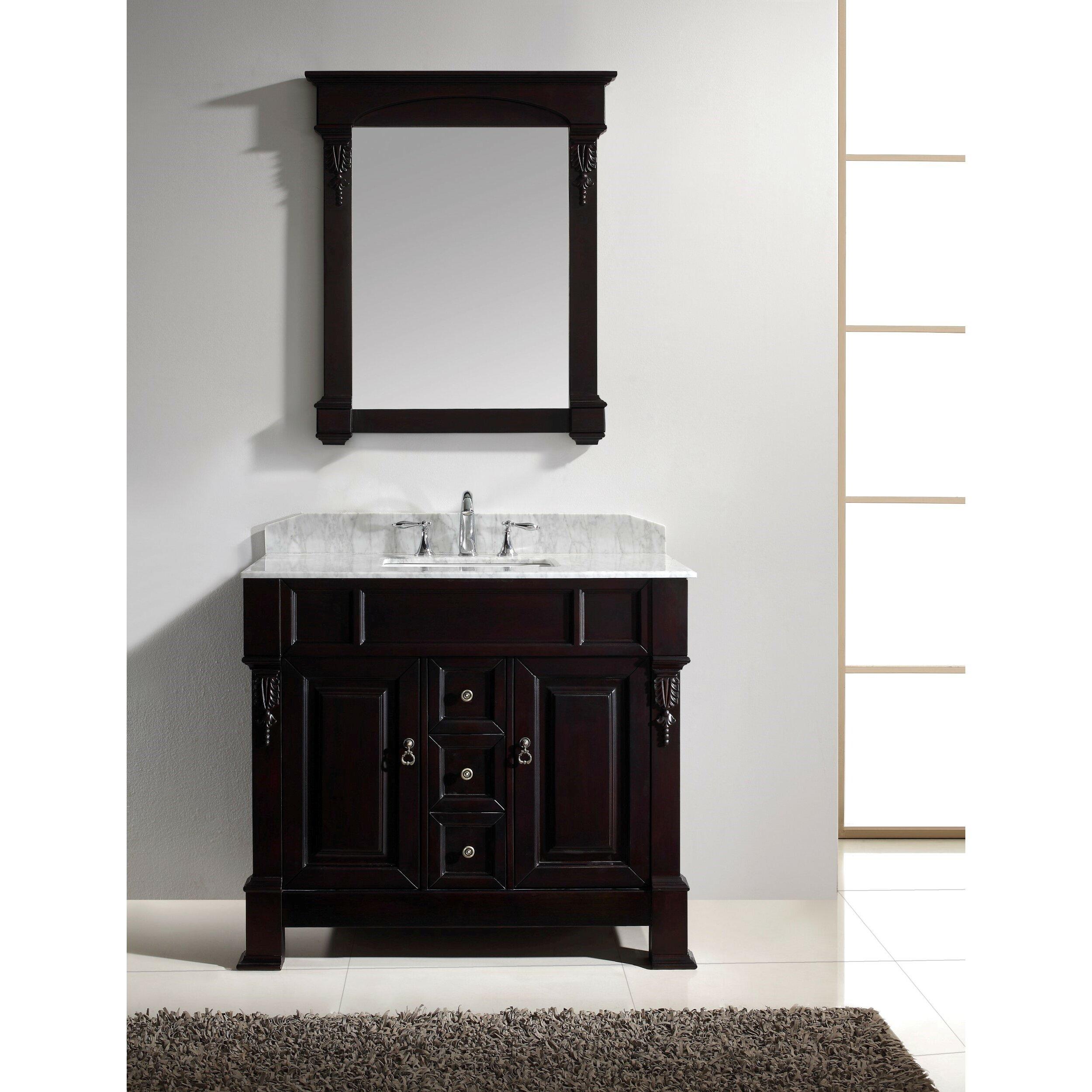 Virtu Huntshire 40 Single Bathroom Vanity Set with Mirror – Bathroom Vanity and Mirror Set
