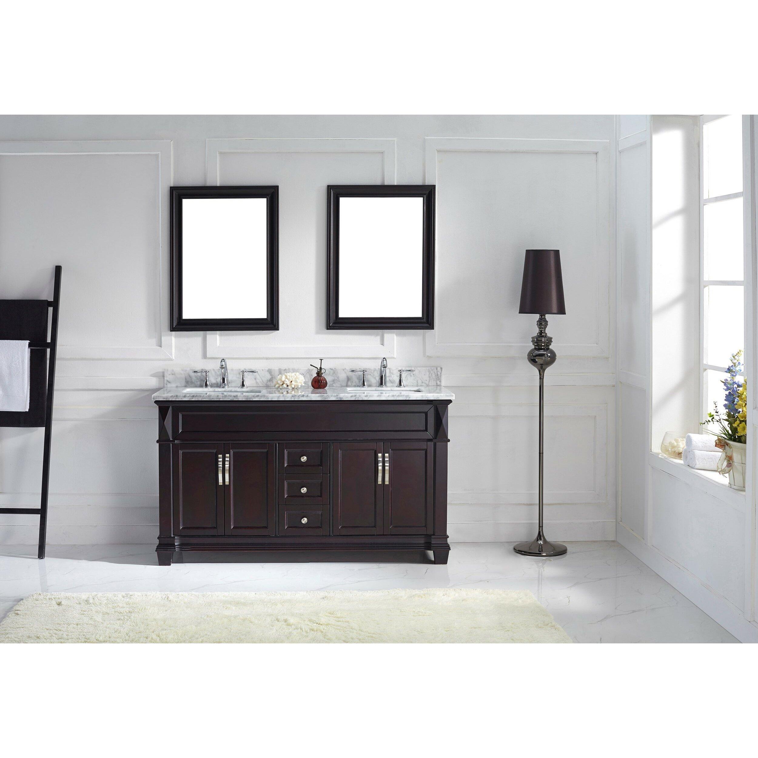 Virtu Victoria 60 8 Double Bathroom Vanity Set With Carrara White Top And Mirror Reviews