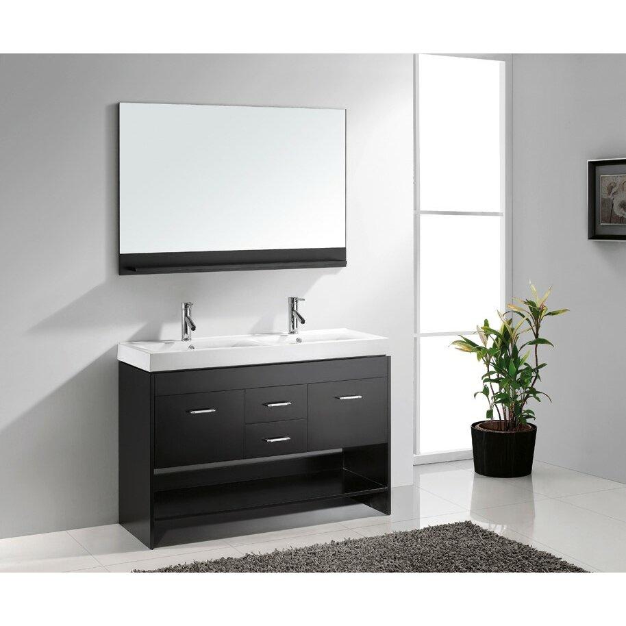virtu gloria 48 double bathroom vanity set with white top and mirror reviews wayfair. Black Bedroom Furniture Sets. Home Design Ideas