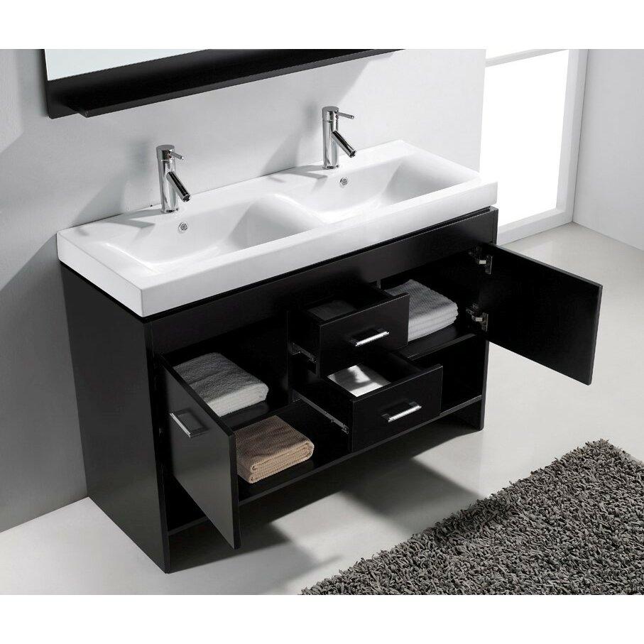 """Virtu Gloria 48"""" Double Bathroom Vanity Set with White Top ..."""