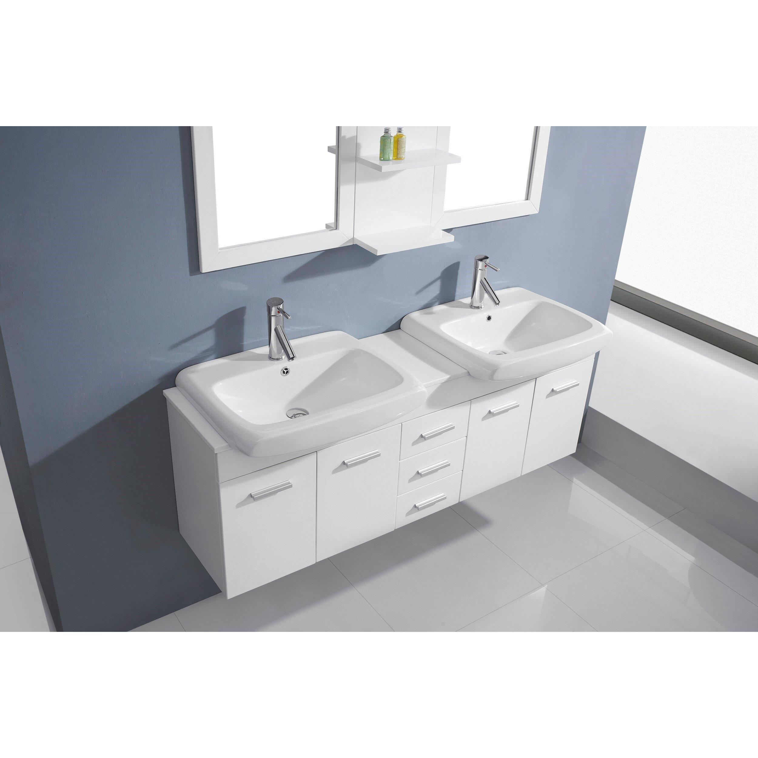 Virtu ultra modern series 59 double bathroom vanity set with white stone top and mirror for Ultra bathroom vanities burbank