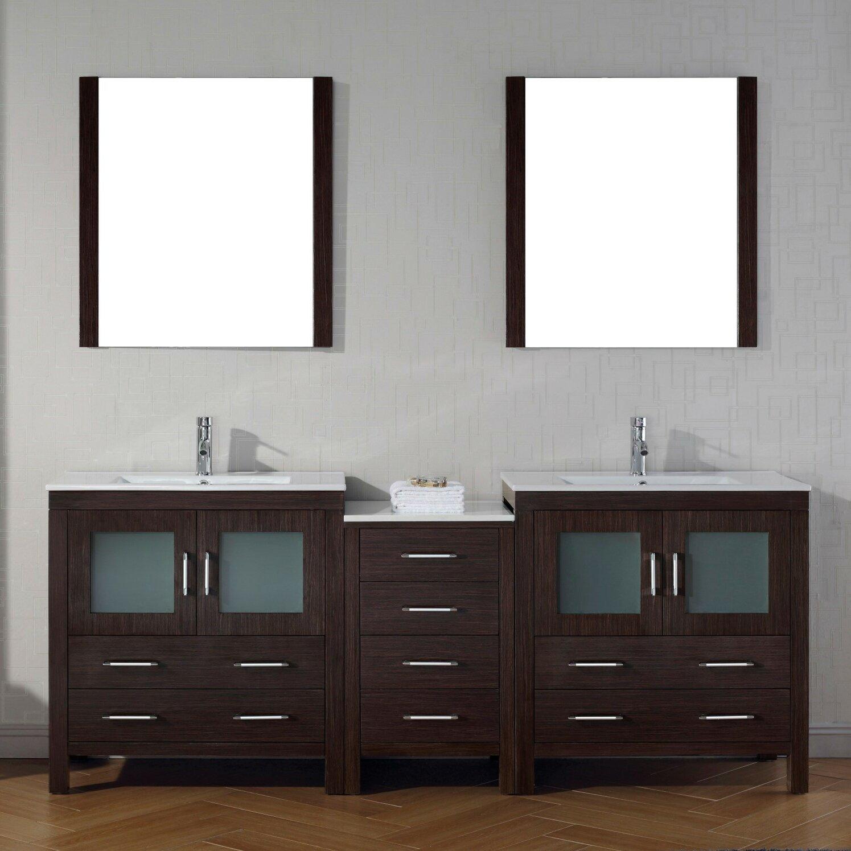 "virtu dior 81.4"" double bathroom vanity set with pure white top"