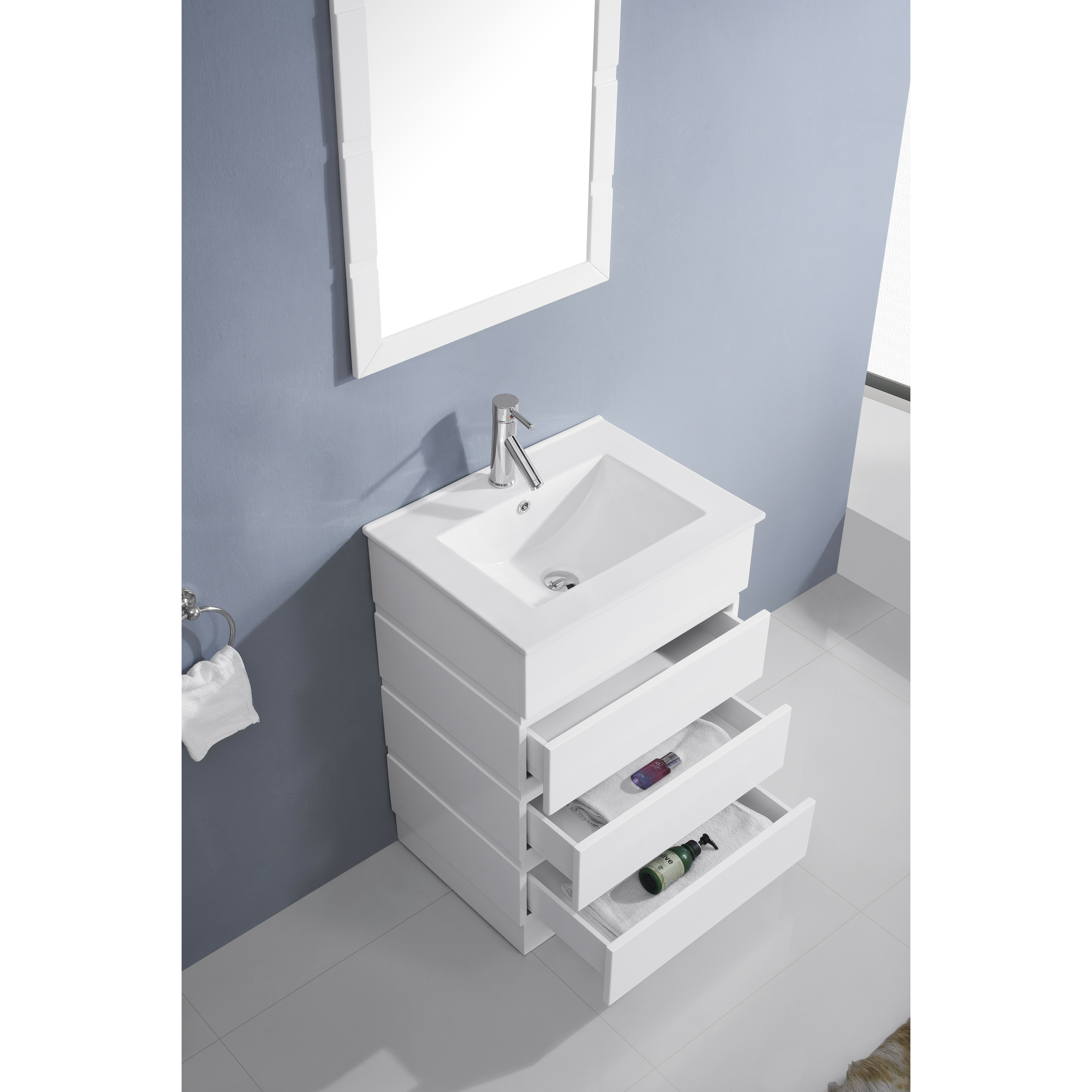 Virtu bruno 24 single contemporary bathroom vanity set with ceramic top and mirror reviews - Linden modern bathroom vanity set ...