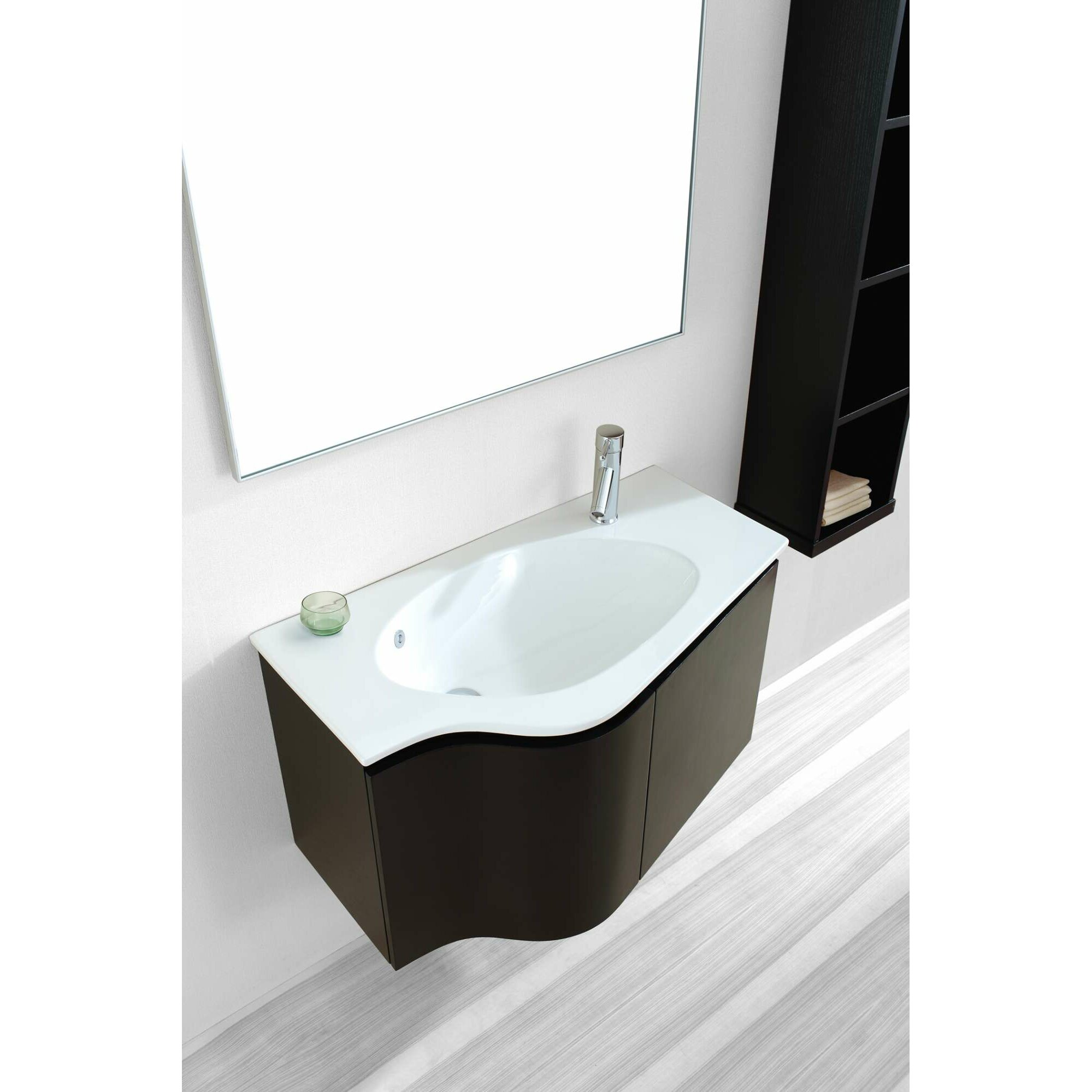 "virtu roselle 35"" single floating bathroom vanity set with mirror"