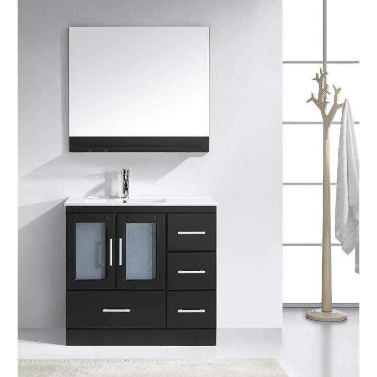 Virtu Zola 36 Single Bathroom Vanity Set With White Top And Mirror Reviews Wayfair