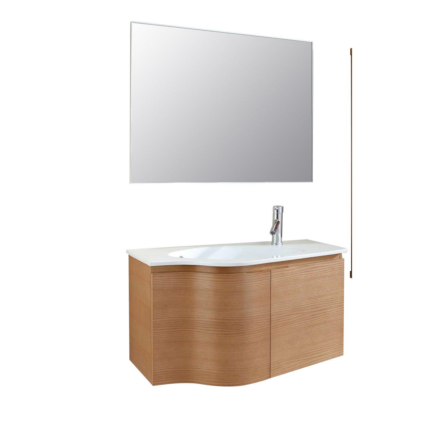 Floating bathroom vanities - Virtu Roselle 35 Quot Single Floating Bathroom Vanity Set With Mirror
