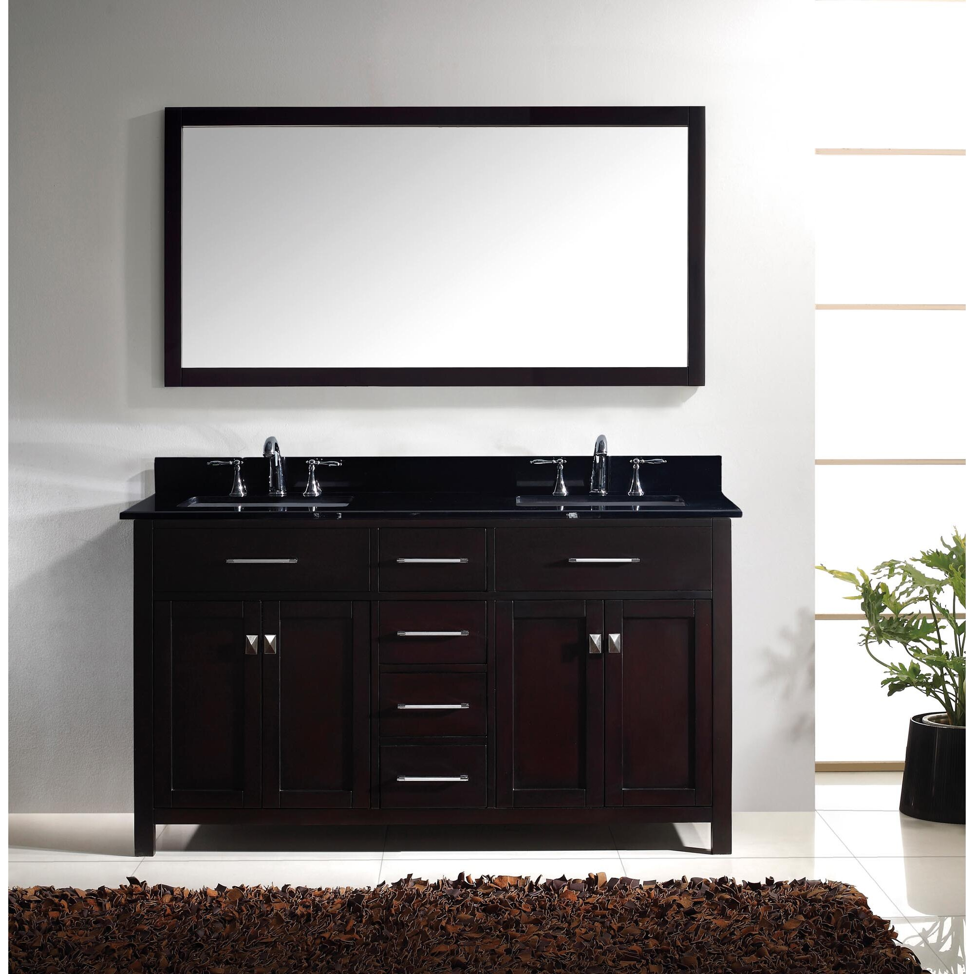 Bathroom Vanity Black Latitude Run Southwick 60 Double Bathroom Vanity Set With Black