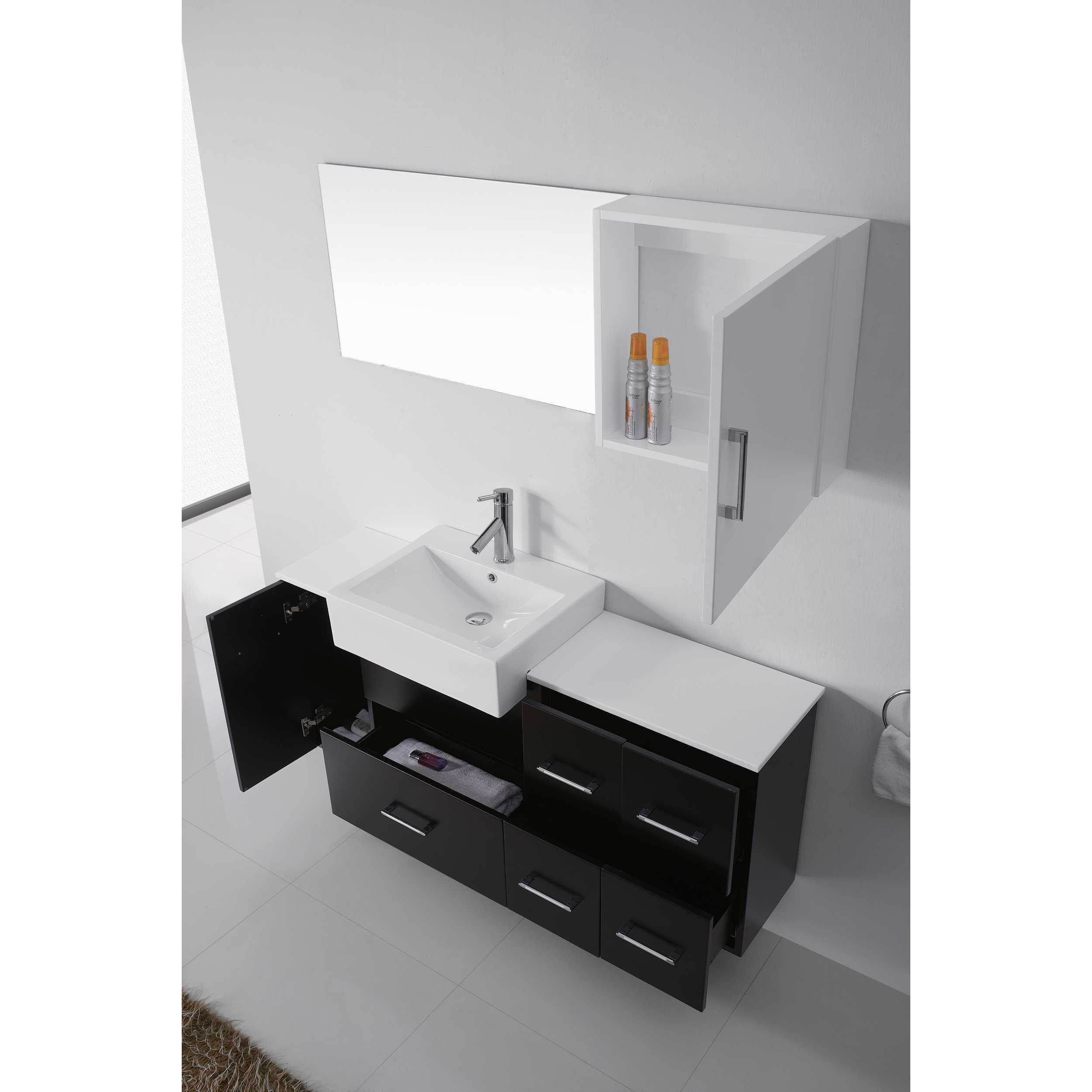 Virtu usa hazel 56 inch single sink bathroom vanity set free - Virtu Hazel 56 Quot Single Bathroom Vanity Set With Black Top And Mirror Virtu Hazel