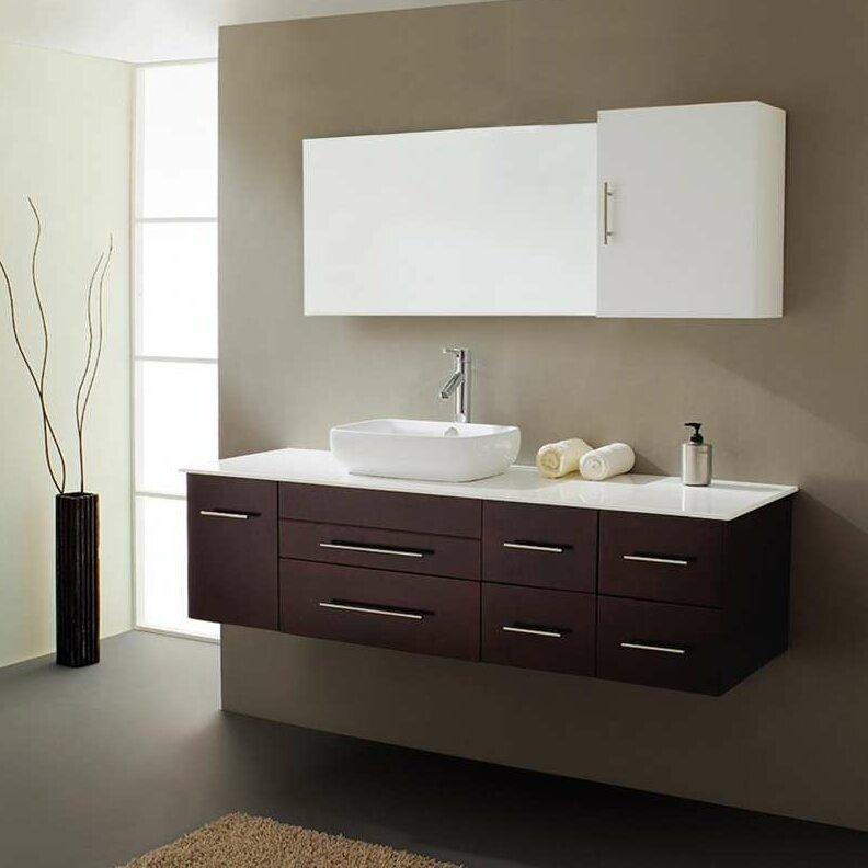 Virtu Justine 59 quot  Single Bathroom Vanity Set with White Top and Mirror. Virtu Justine 59  Single Bathroom Vanity Set with White Top and