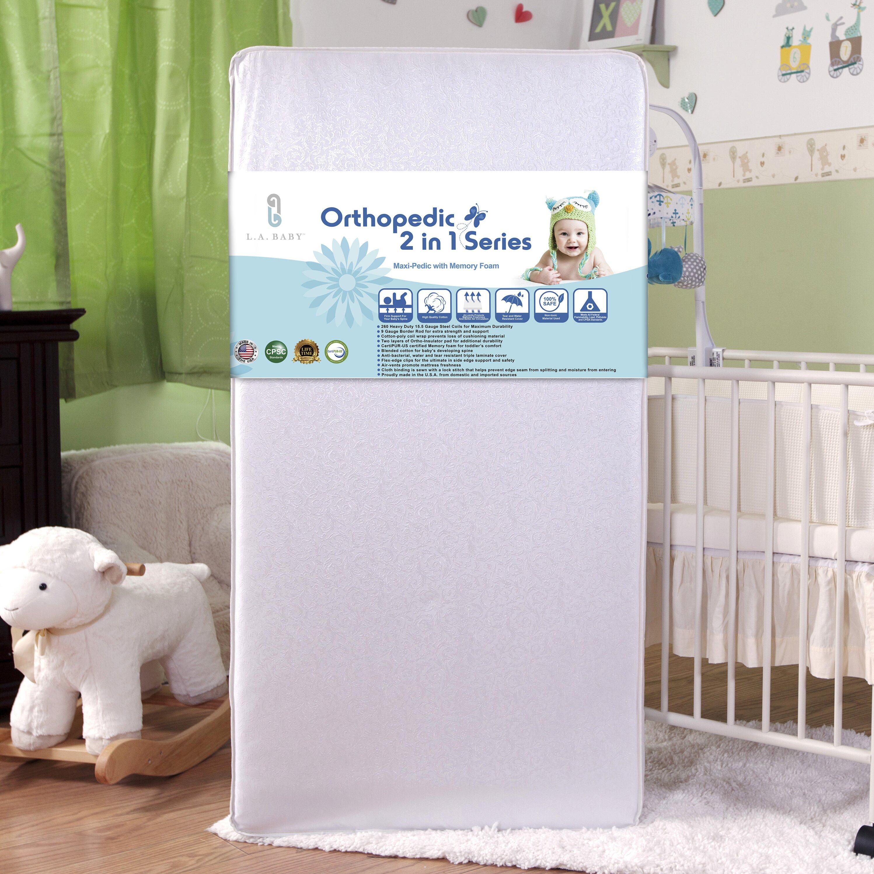Special enclosed crib for premature babies - L A Baby Maxi Pedic With Memory Foam Crib Mattress
