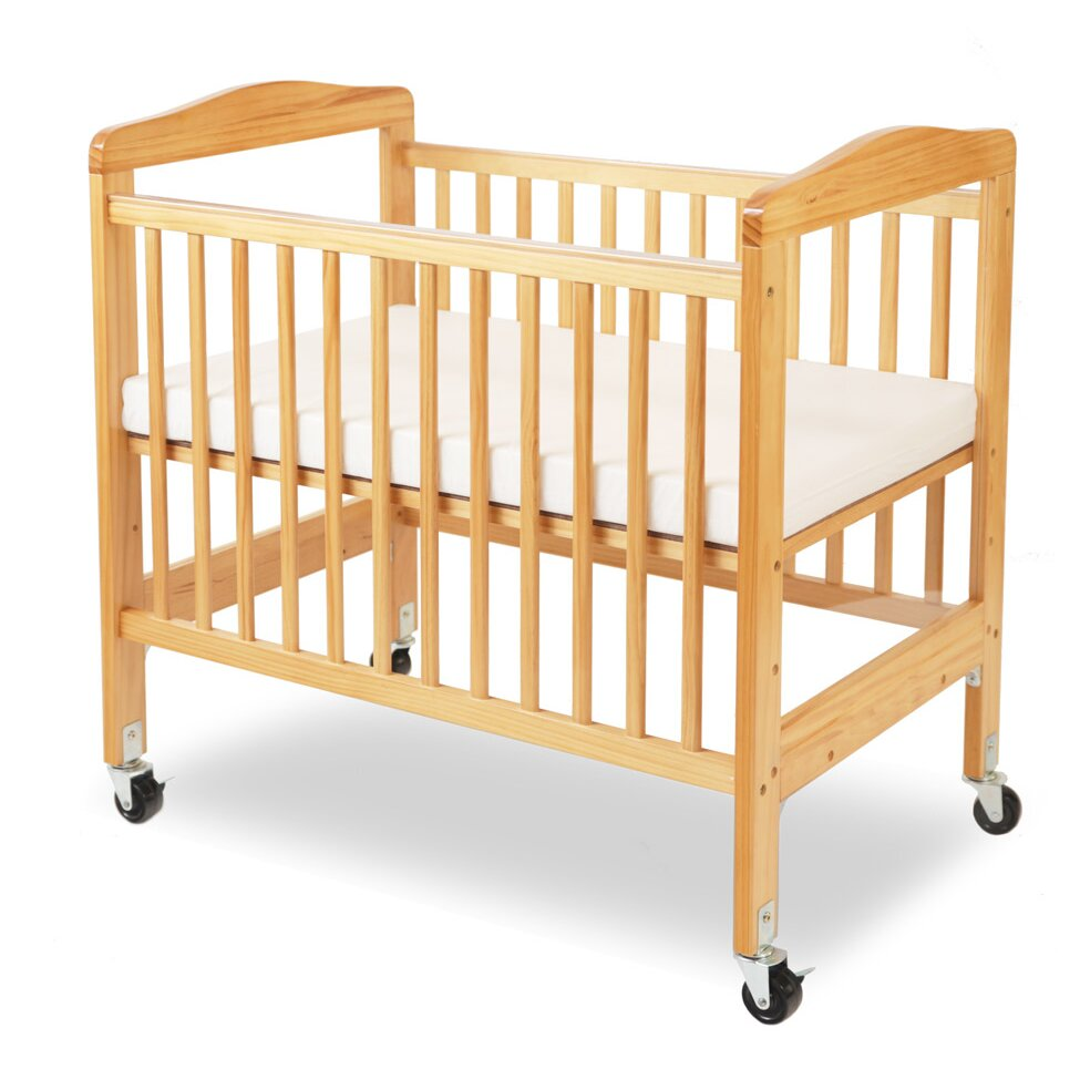 Baby cribs unfinished wood - L A Baby Compact Wooden Window Convertible Crib With Mattress