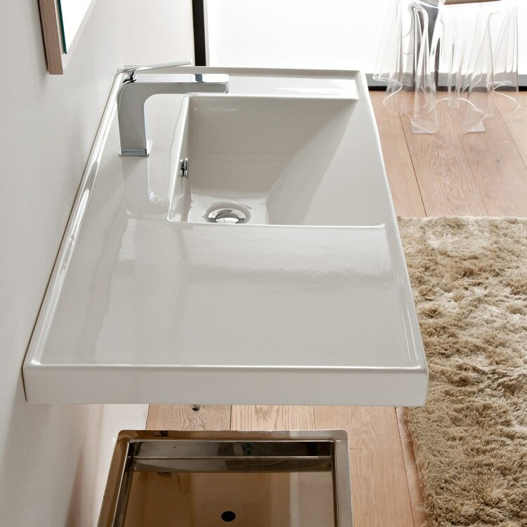 "scarabeonameeks ml 36.2"" ceramic wall mounted bathroom sink"