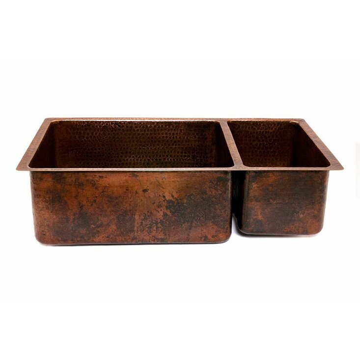 """premier copper products 33"""" x 19"""" hammered 75/25 double bowl"""