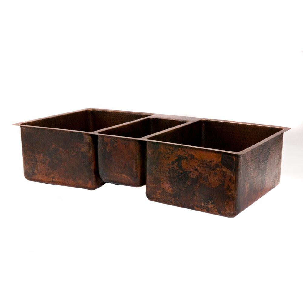premier copper products ampquot x ampquot hammered triple bowl kitchen sink: hammered copper kitchen sink