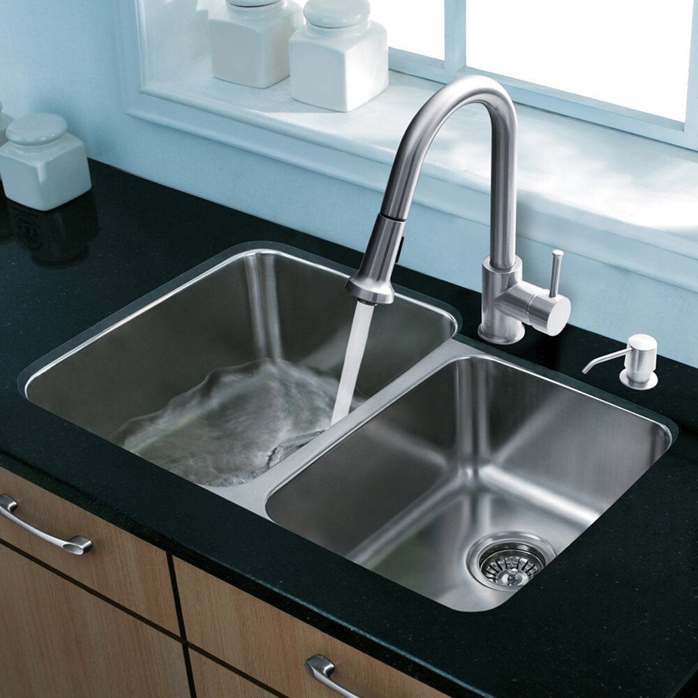 Sink Grids For Stainless Steel Sinks : ... Steel-Kitchen-Sink-with-Harrison-Stainless-Steel-Faucet-Two-Grids-Two