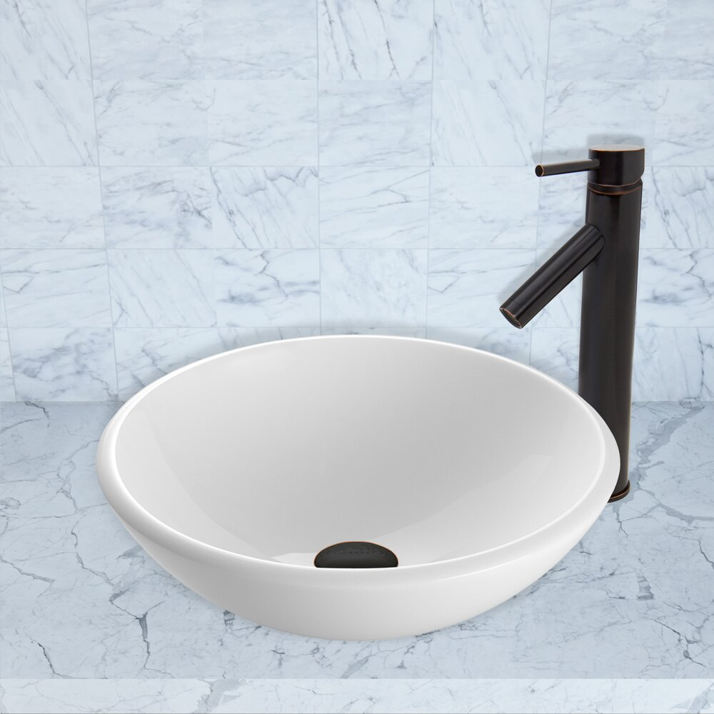 White Stone Vessel Sink : White Phoenix Stone Vessel Sink and Dior Vessel Faucet with Pop Up by ...