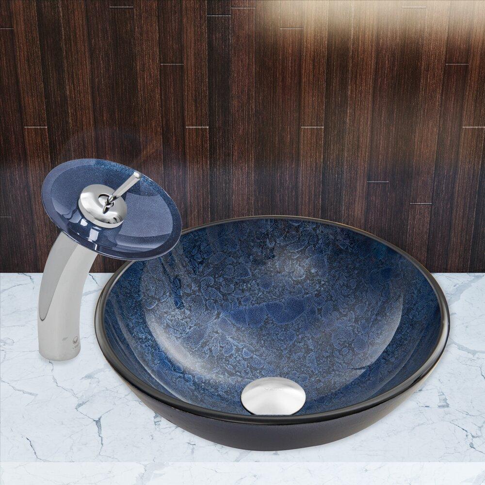 Eclipse Sinks : Vigo Indigo Eclipse Glass Vessel Bathroom Sink and Waterfall Faucet ...