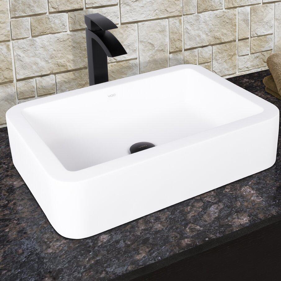 Vigo navagio matte stone vessel bathroom sink and duris vessel faucet with matte black wayfair for Black granite vessel bathroom sinks