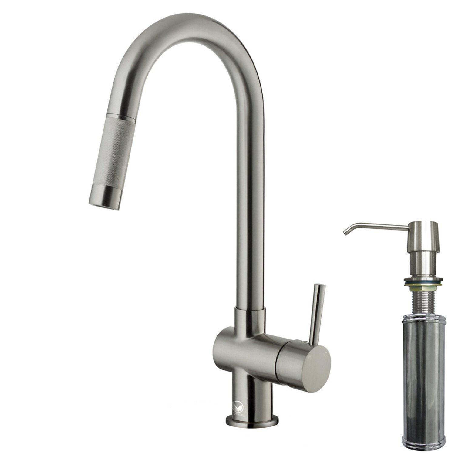 vigo gramercy single handle pull-down kitchen faucet with soap