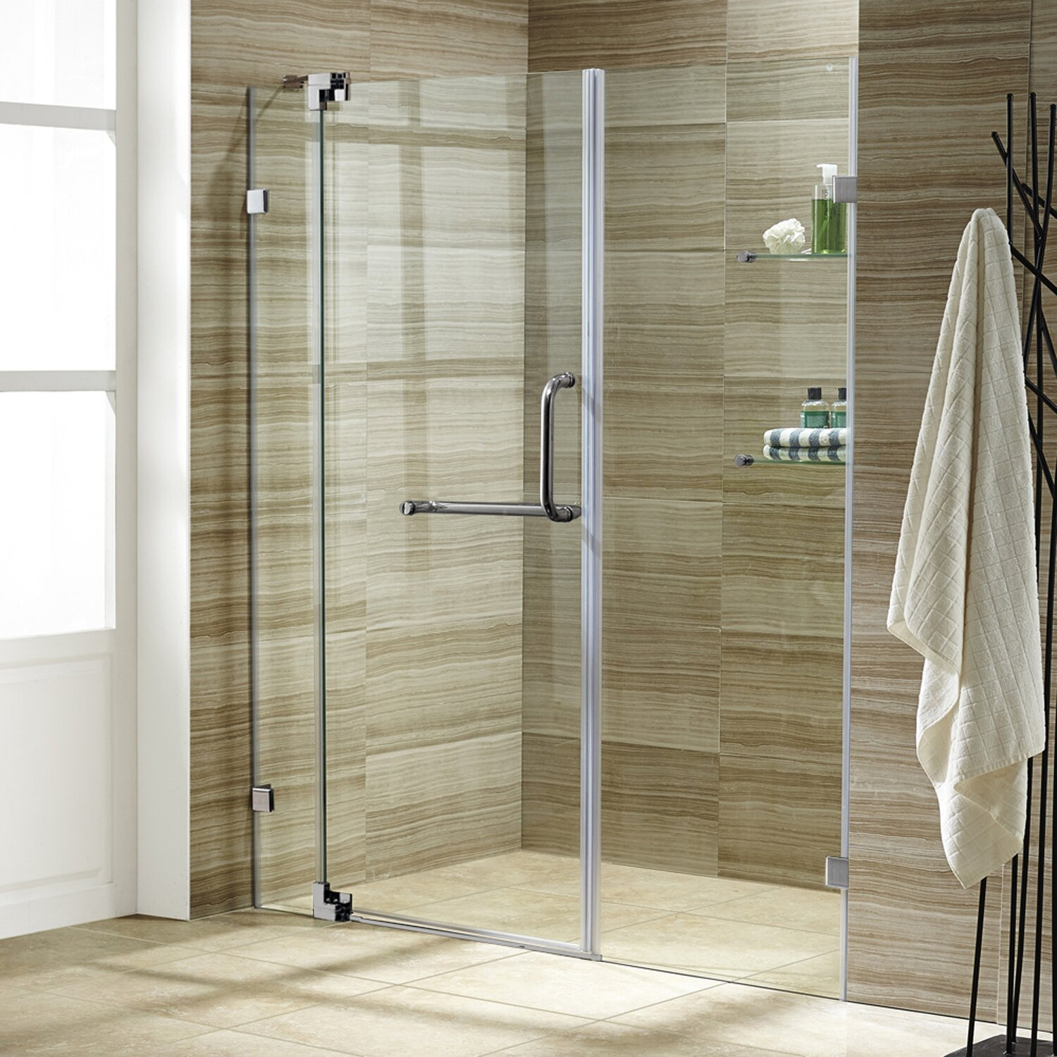 Bathroom shower doors frameless - Pirouette 60 X 72 Pivot Frameless Shower Door