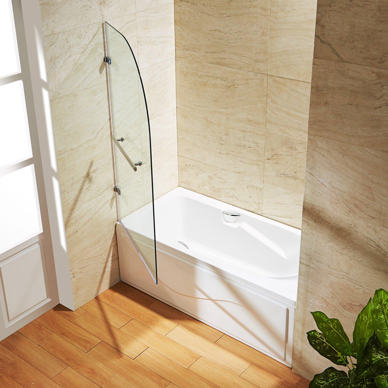 "Vigo Orion 34"" X 58"" Hinged Curved Bathtub Door & Reviews"