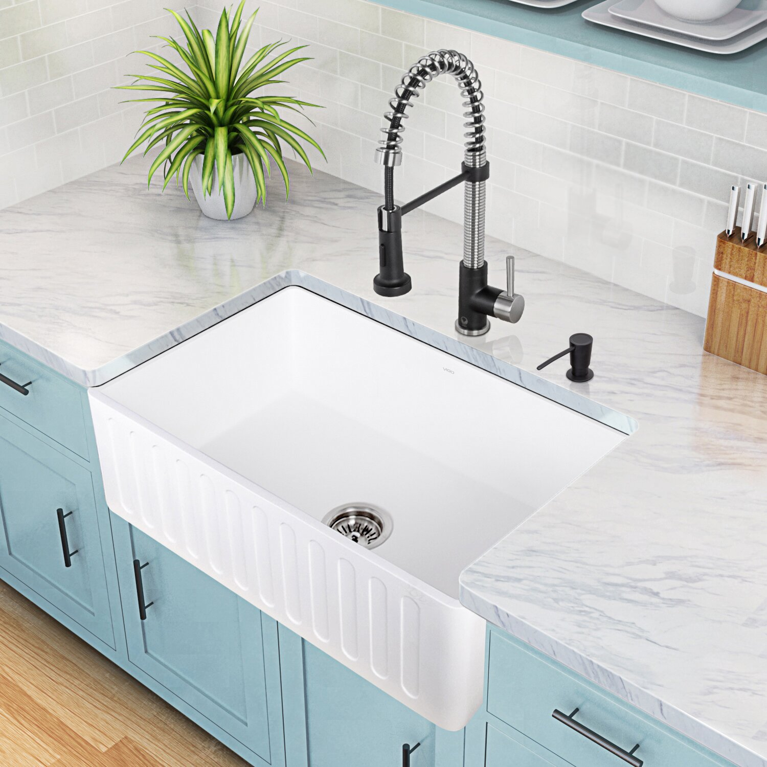30 inch Farmhouse Apron Single Bowl Matte Stone Kitchen Sink by Vigo