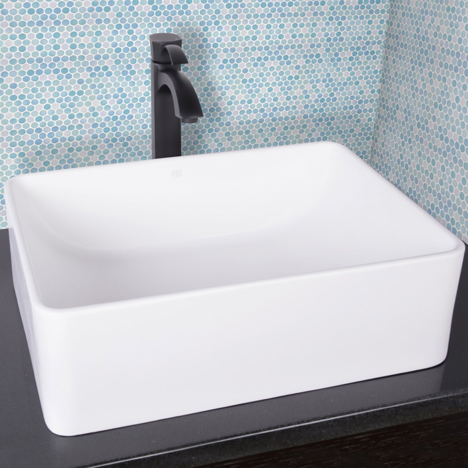 Bathroom square vessel sinks - Vigo Caladesi Matte Stone Vessel Bathroom Sink