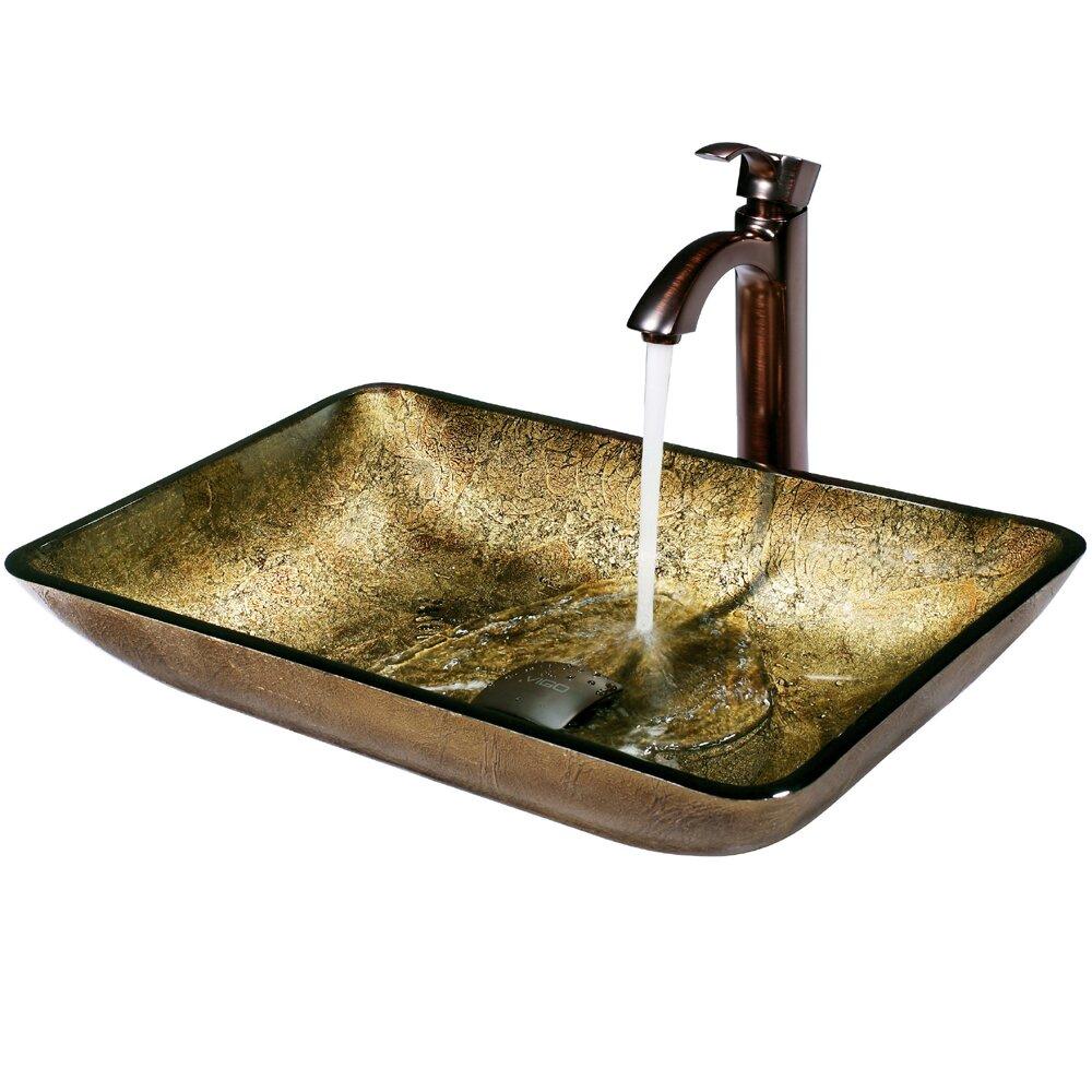 Vigo Rectangular Copper Glass Vessel Bathroom Sink And Otis Vessel Faucet With Reviews Wayfair