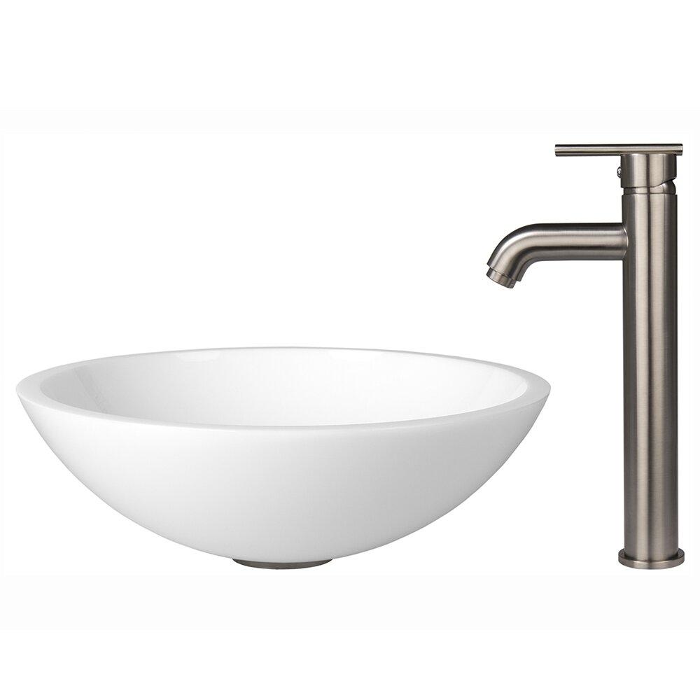 Flat Edged White Phoenix Stone Vessel Sink and Seville Vessel Faucet ...