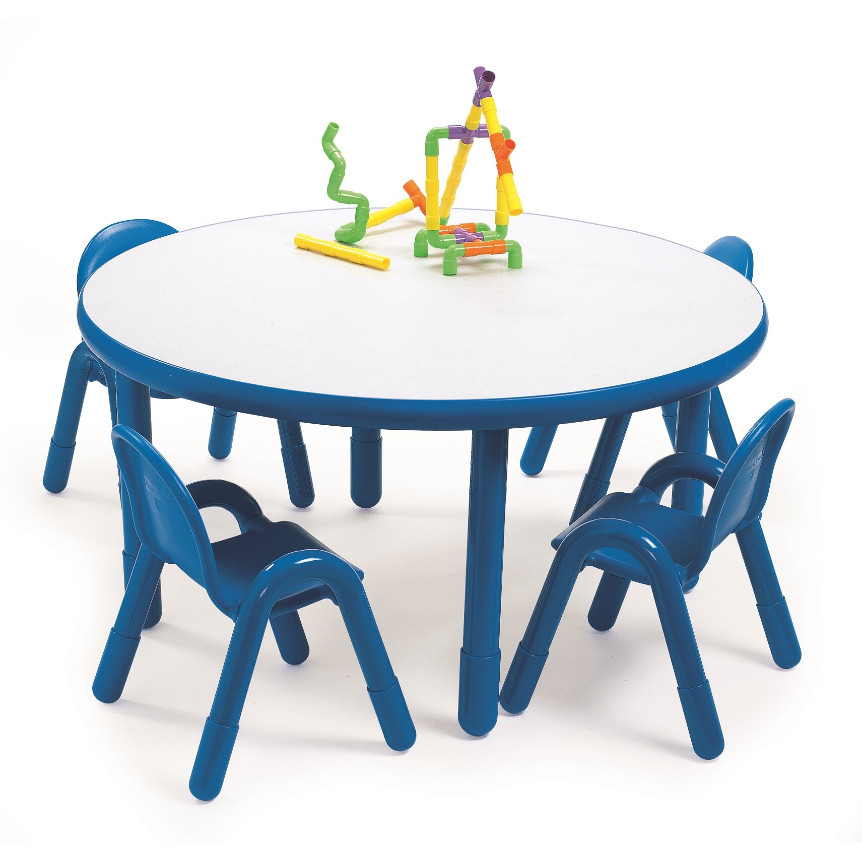 Angeles Round Baseline Preschool Table And Chair Set In