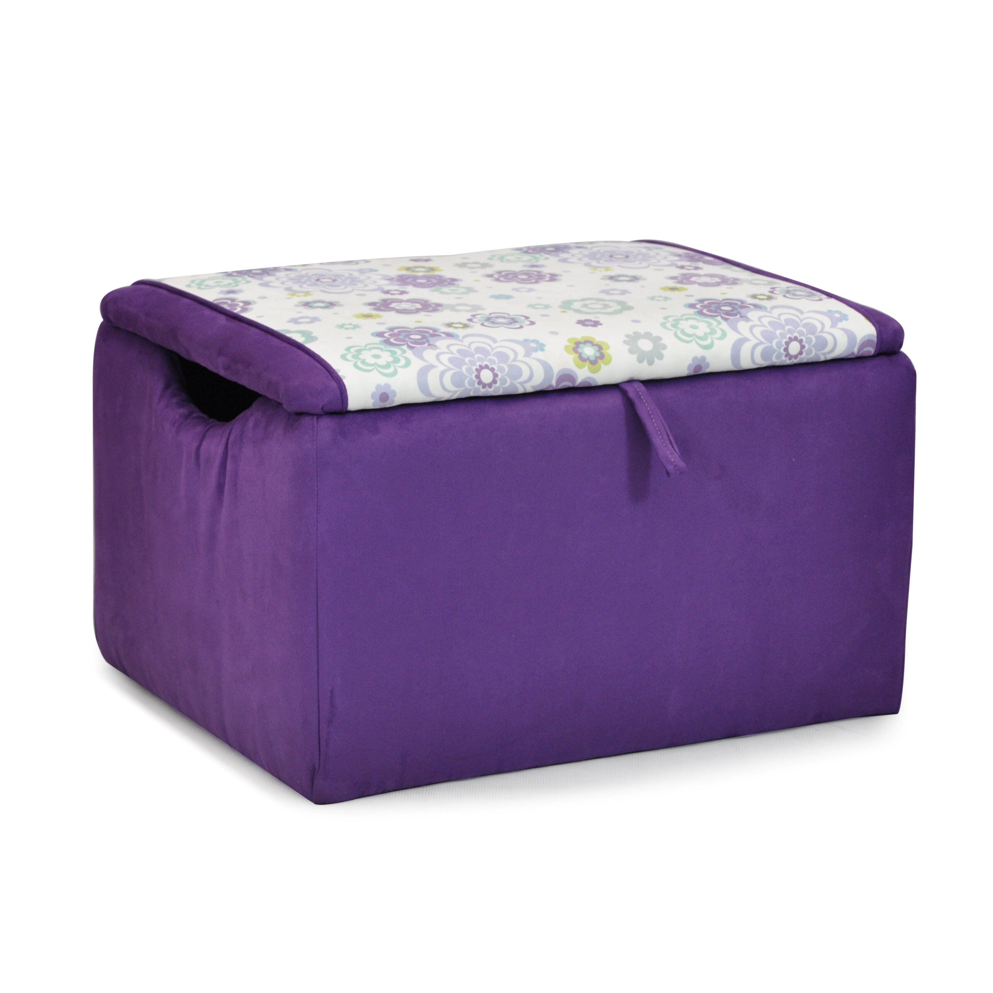 kidzworld mixy kids suede ottoman with storage compartment