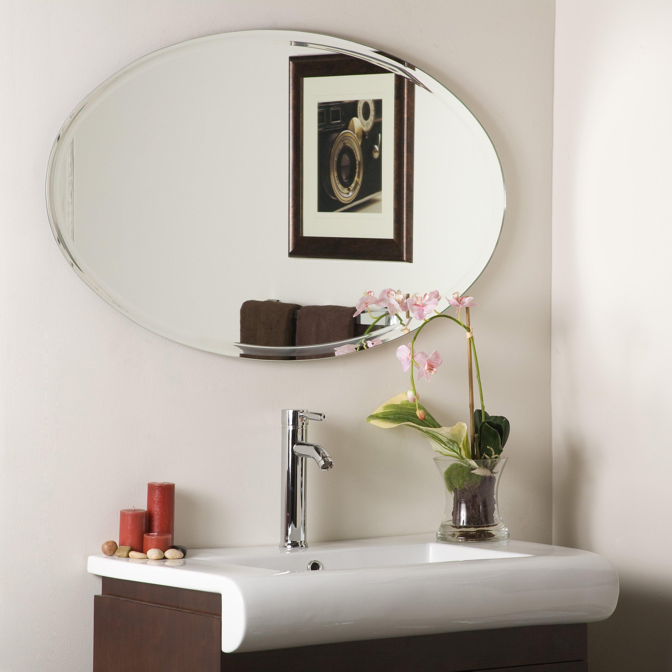 Charlton home marsham frameless marisol wall mirror - Frameless beveled bathroom mirrors ...