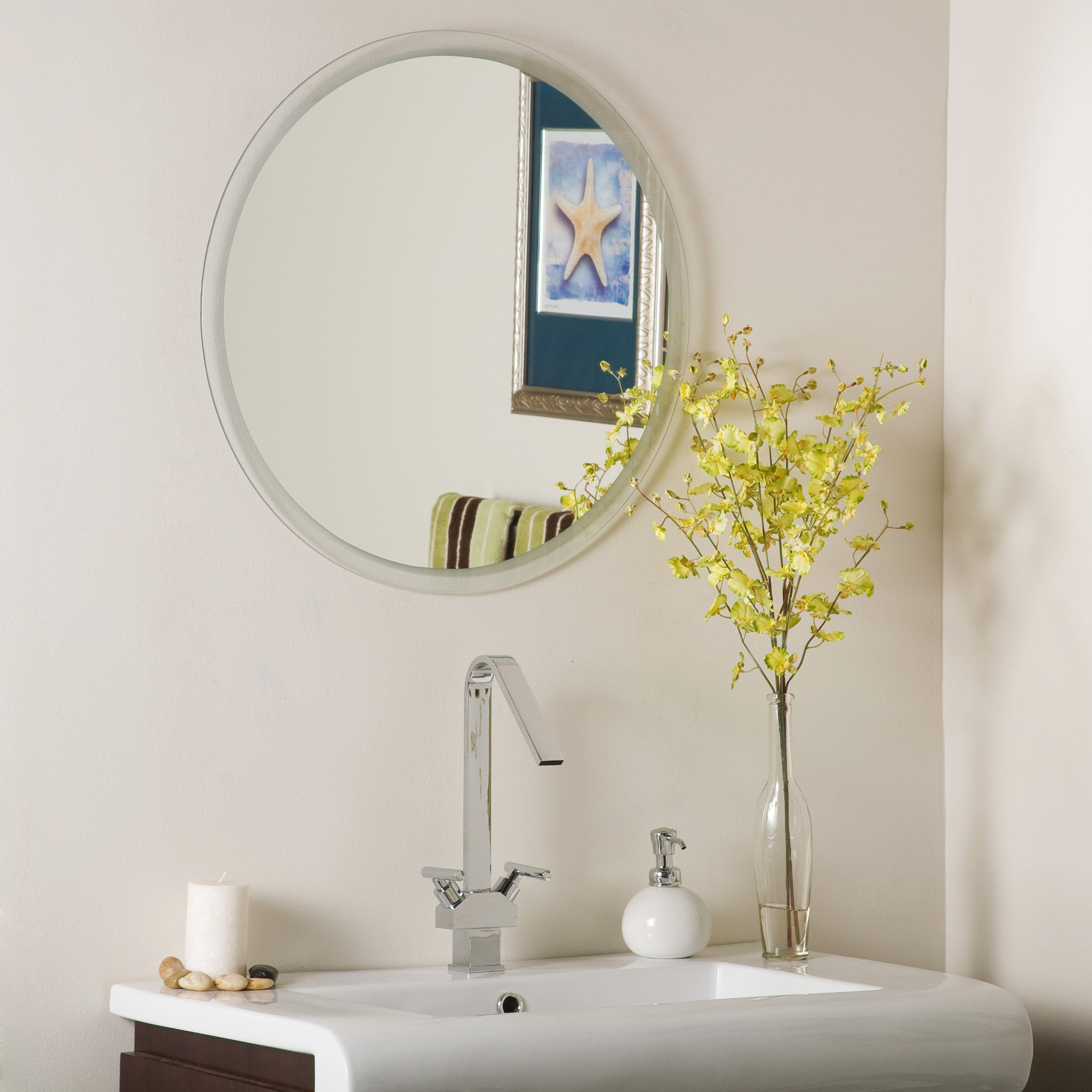 Frameless Bathroom Mirror Decor Wonderland Frameless Beveled Karnia Wall Mirror Reviews