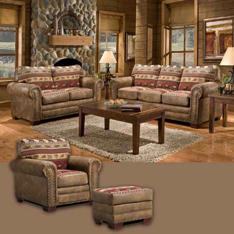 American furniture classics sierra lodge 4 piece living room set with sleeper sofa