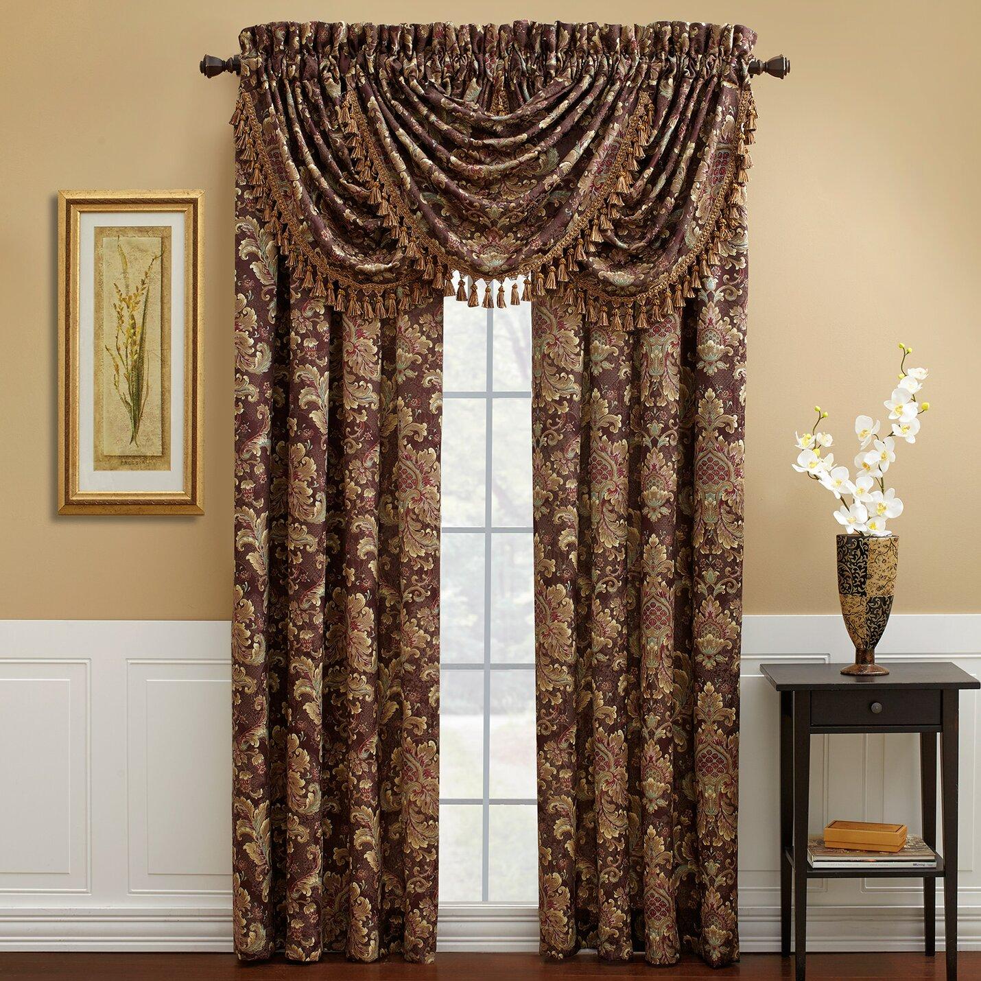 Gray and white damask curtains - Serafina Single Curtain Panel