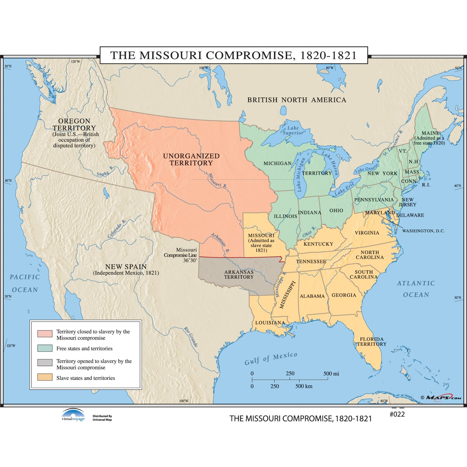 Universal Map US History Wall Maps  Missouri Compromise