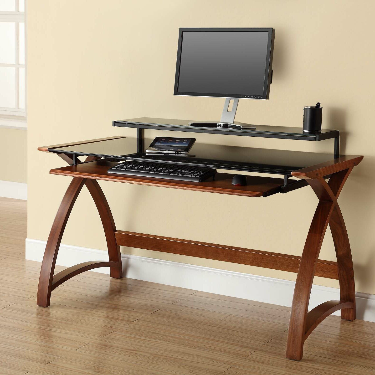 Jual Curve Computer Desk With Keyboard Tray Amp Reviews