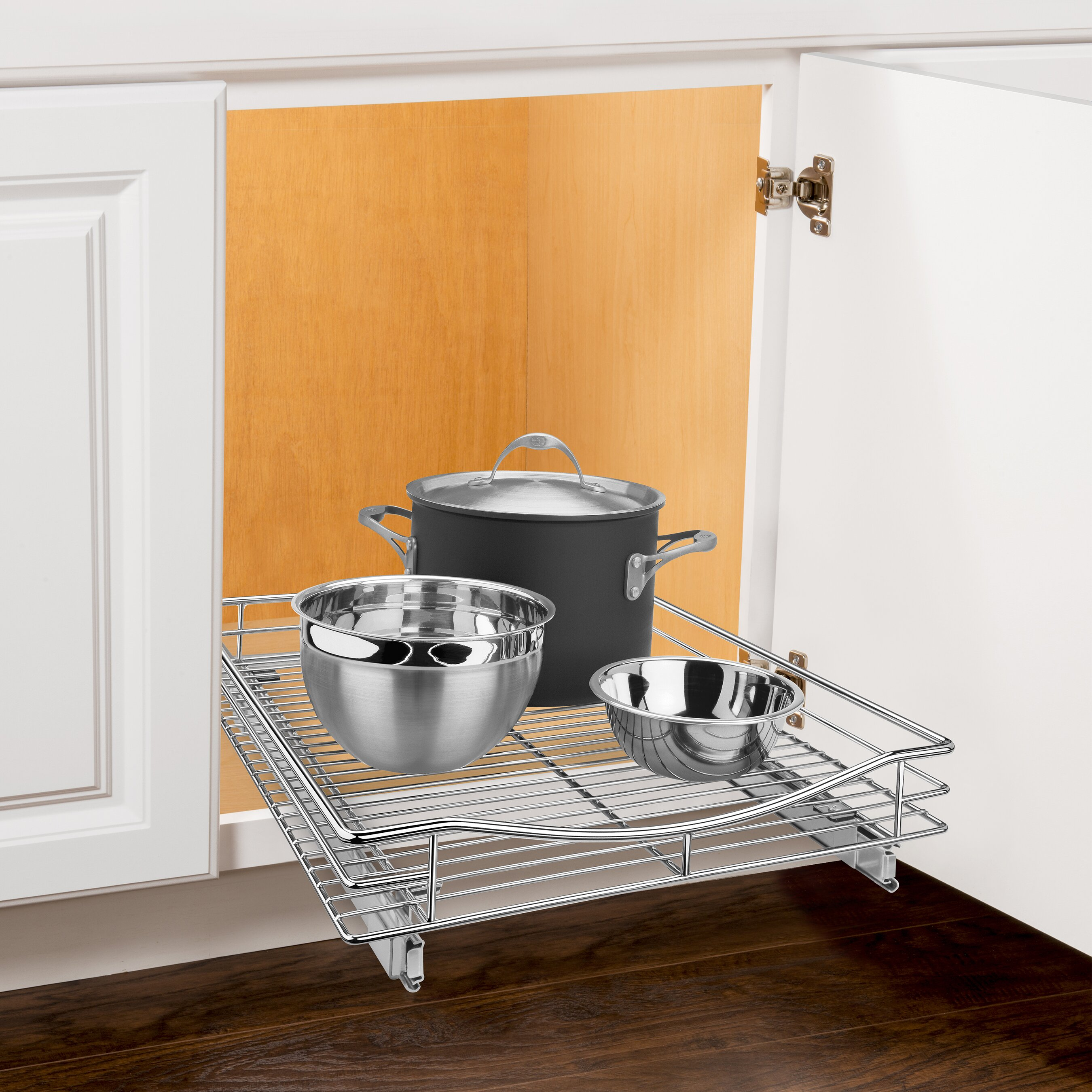 Pull Out Sliding Metal Kitchen Pot Cabinet Storage: Lynk Roll Out Cabinet Organizer