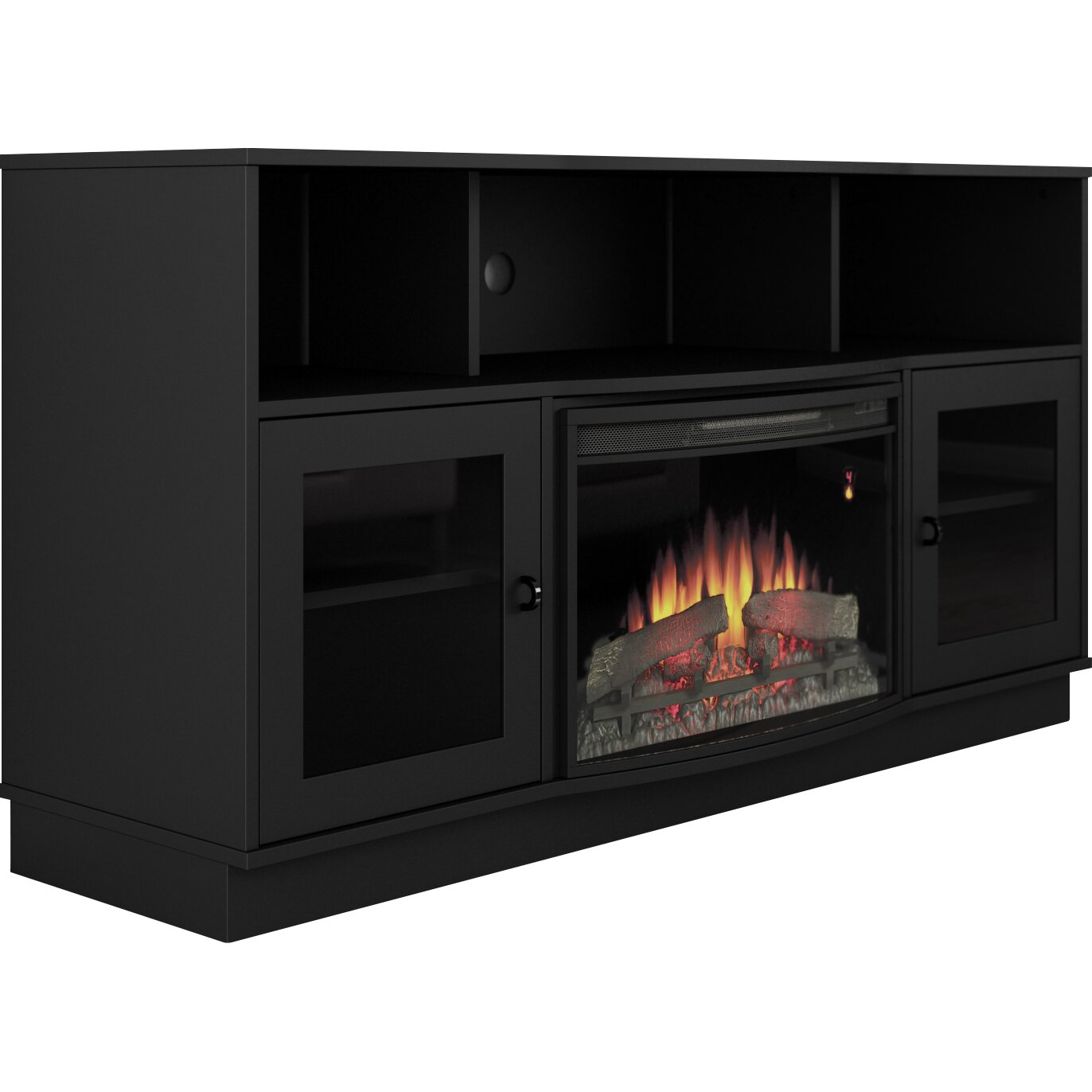 furnitech contemporary tv stand with electric fireplace