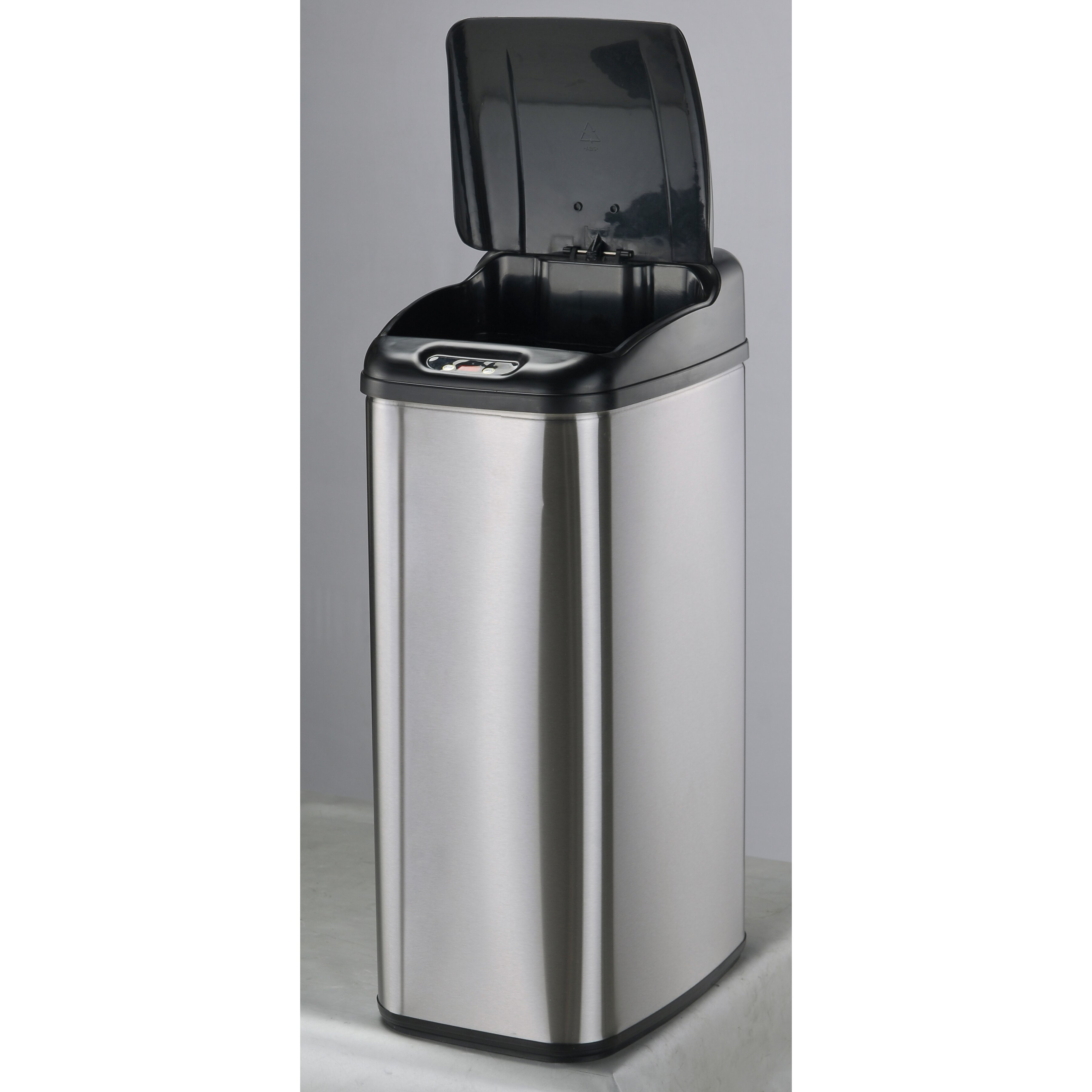 Black Kitchen Trash Cans Nine Stars Nine Stars 132 Gallon Motion Sensor Stainless Steel