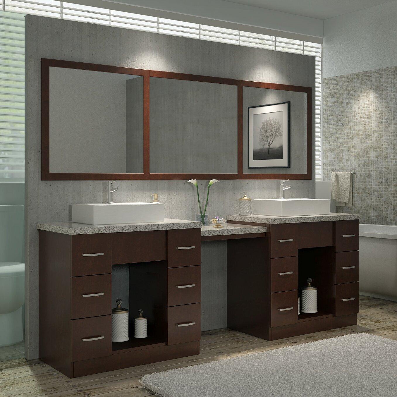 """Bathroom Makeup Vanity Pictures: Ariel Bath Roosevelt 97"""" Double Sink Vanity Set With"""