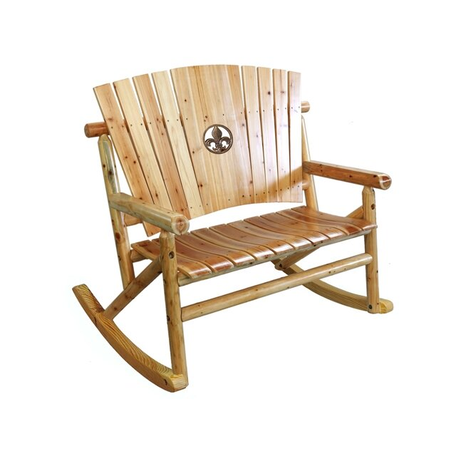 LeighCountry Aspen Fleur de Lis Medallion Double Rocking Chair II – Aspen Chair