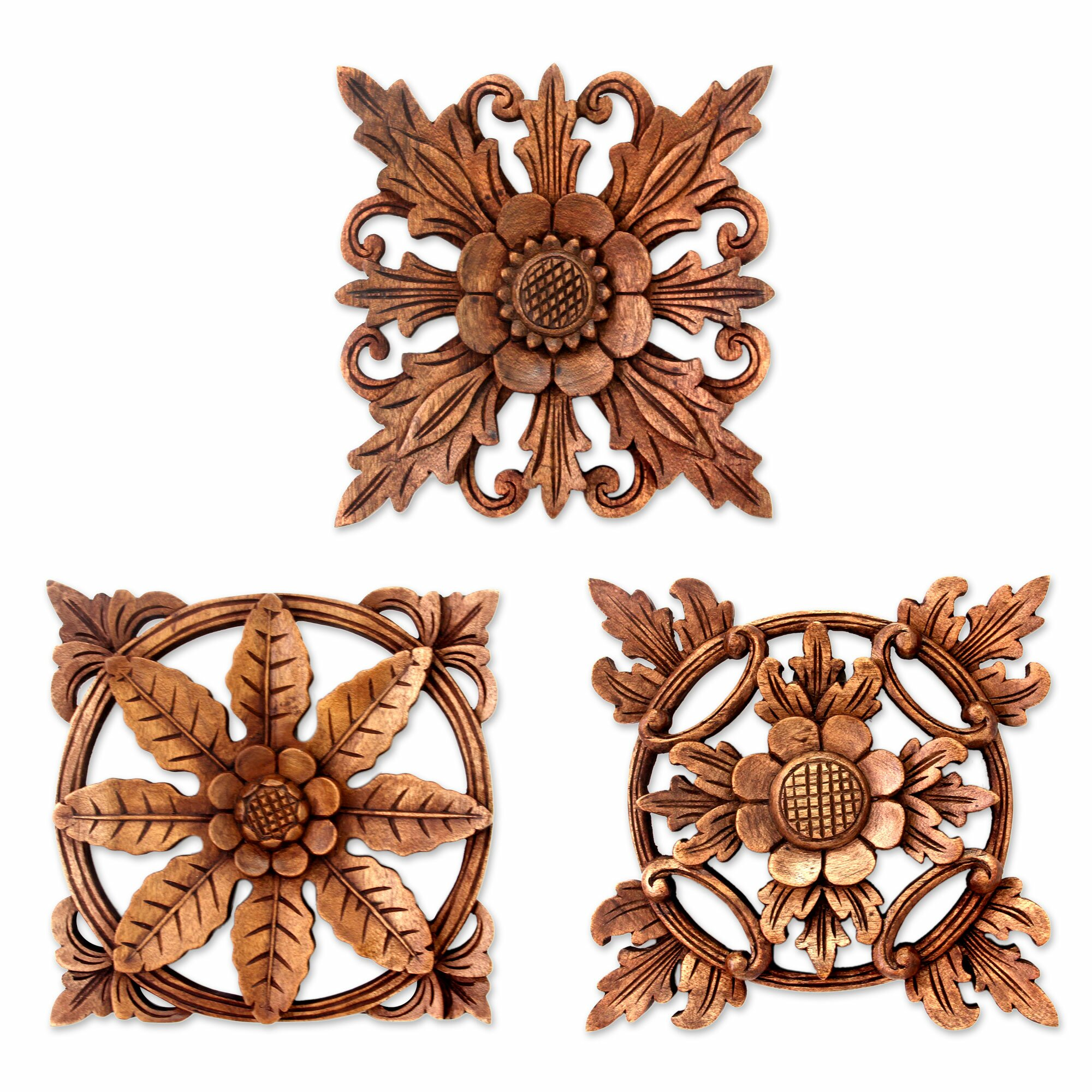Wood Carved Wall Decor Novica 3 Piece Balinese Hand Carved Wood Floral Relief Panels Wall