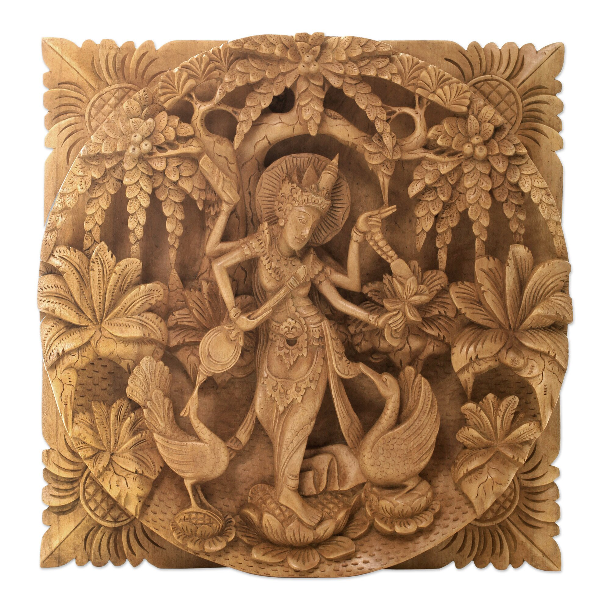 Wonderful image of  Hindu Goddess Themed Carved Wood Relief Panel Wall Décor Wayfair with #A86D23 color and 2000x2000 pixels