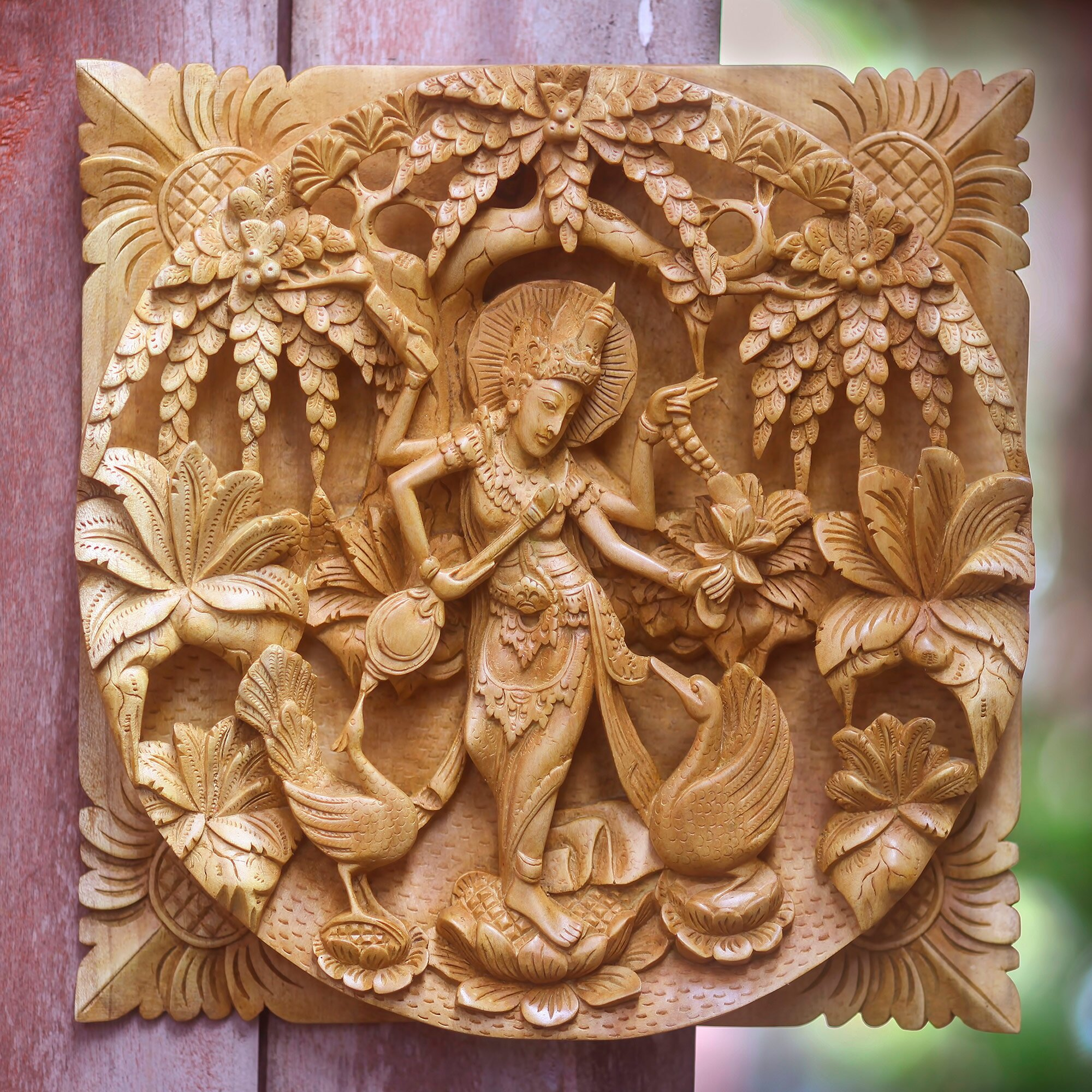 Wood Carved Wall Decor Novica Hindu Goddess Themed Carved Wood Relief Panel Wall Dccor