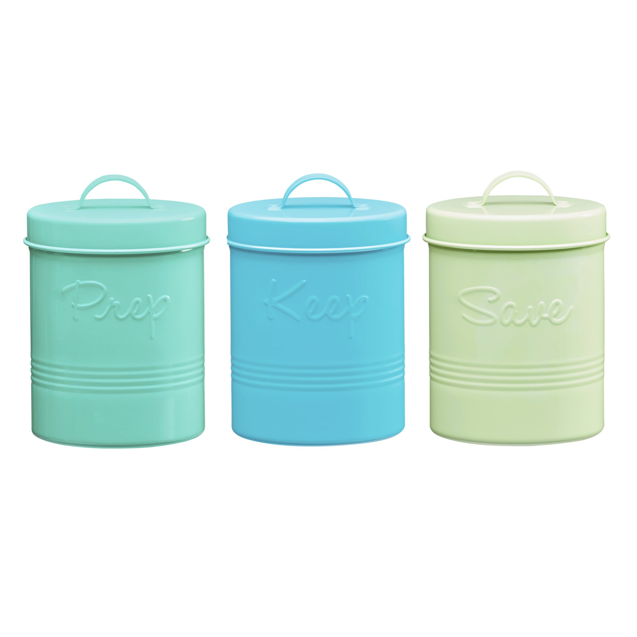 Green Canister Sets Kitchen Global Amici Retro Fifties Metal 3 Piece Kitchen Canister Set