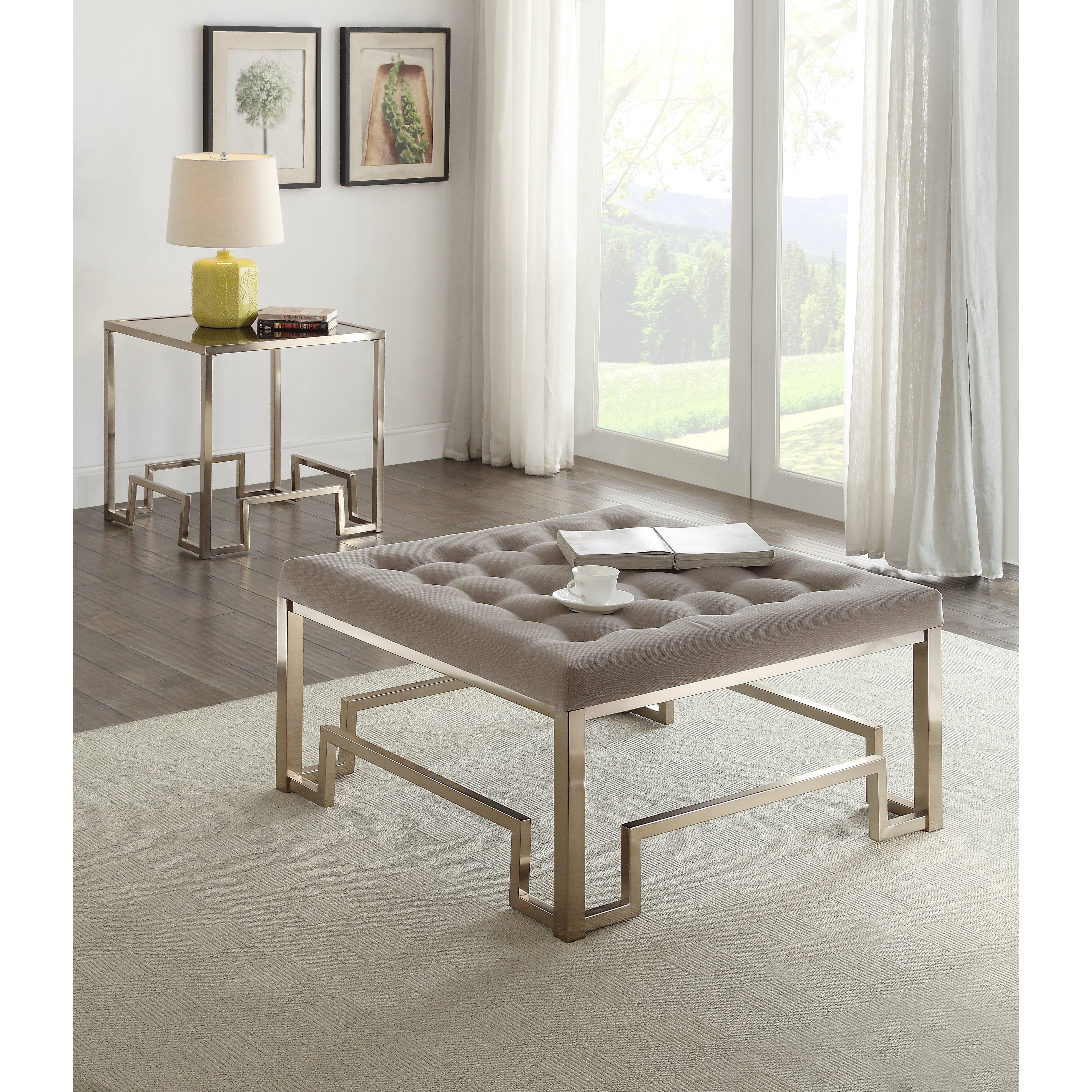Coffee Table With Fabric: ACME Furniture Damien Fabric Coffee Table